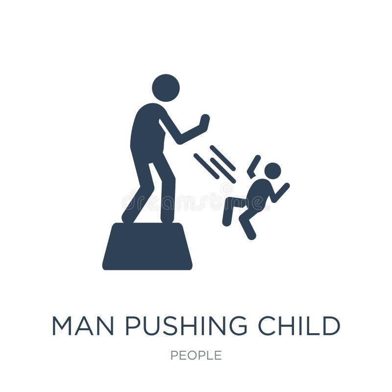 uomo che spinge l'icona del bambino nello stile d'avanguardia di progettazione uomo che spinge l'icona del bambino isolata su fon royalty illustrazione gratis