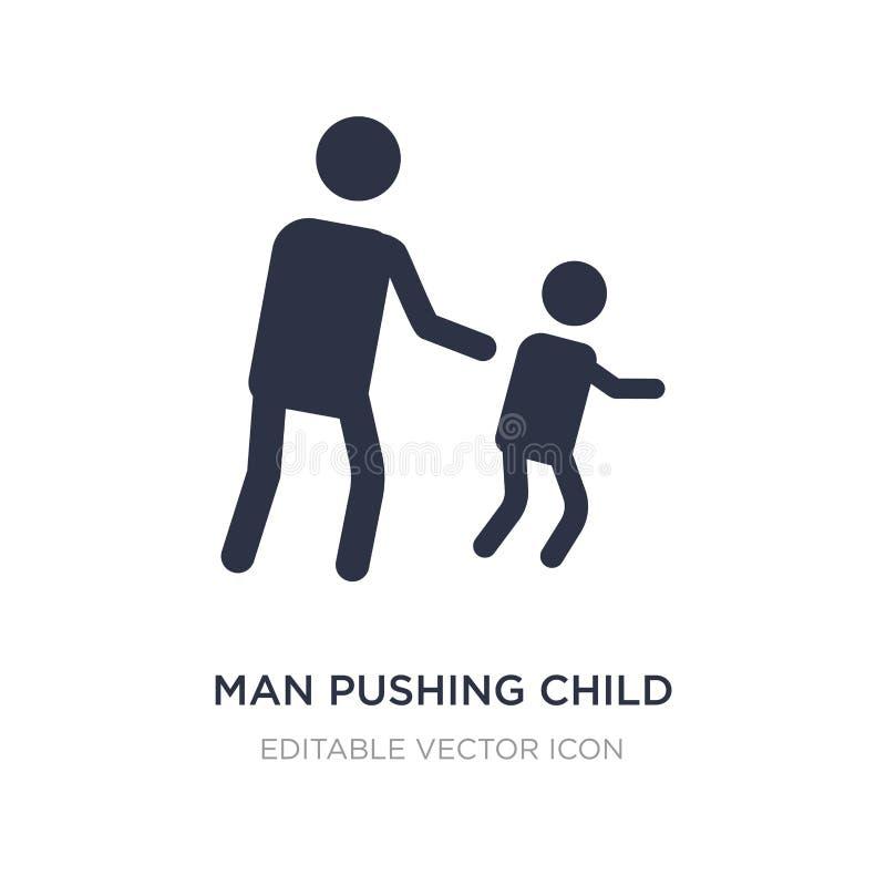 uomo che spinge l'icona del bambino su fondo bianco Illustrazione semplice dell'elemento dal concetto della gente illustrazione vettoriale