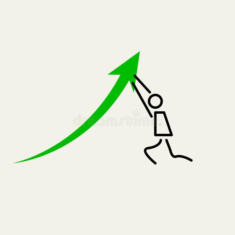 Uomo che spinge verso l'alto Il piccolo uomo spinge verso l'alto la freccia del grafico Insieme di elementi di progettazione di v illustrazione di stock