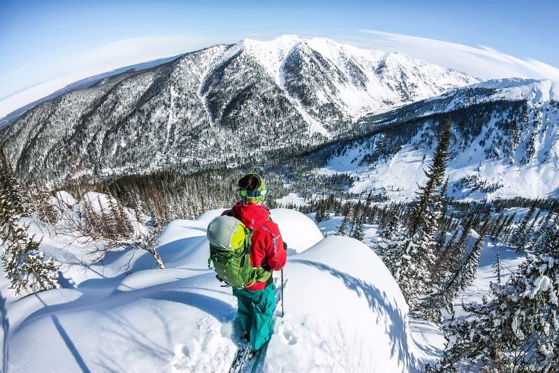 Uomo che sta in cima alla cresta Sci che visita in montagne Sport di estremo di freeride di inverno di avventura immagine stock
