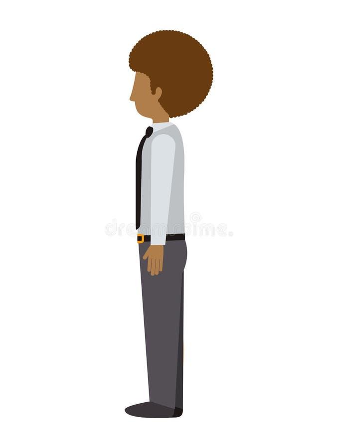 Uomo che sta con l'afro sinistro di profilo illustrazione vettoriale