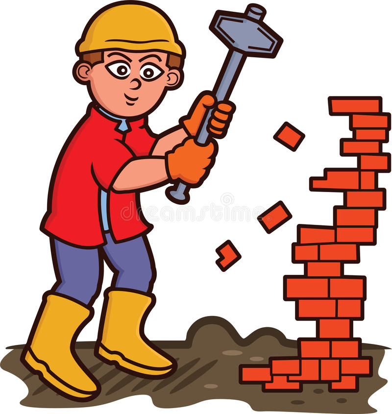 Uomo che strappa giù i mattoni con il fumetto della mazza illustrazione di stock
