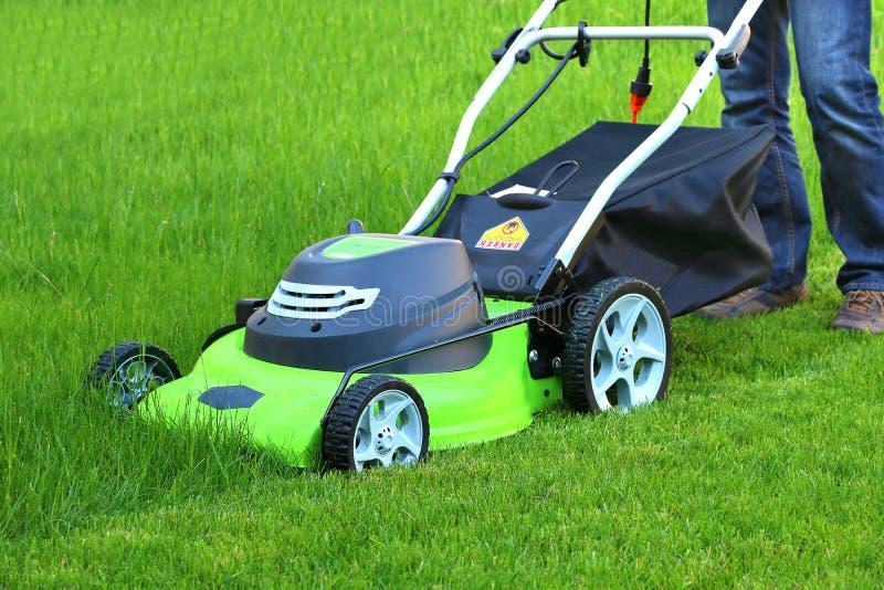Uomo che taglia l 39 erba con la falciatrice da giardino - Erba da giardino resistente ...