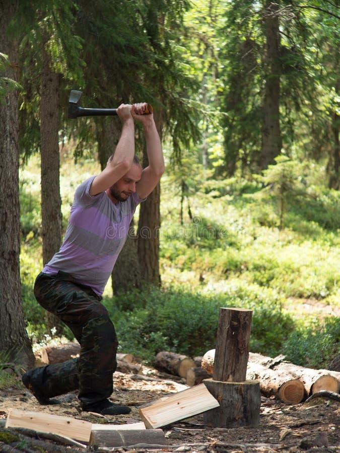 Uomo che taglia legno a pezzi con un'ascia fotografia stock libera da diritti