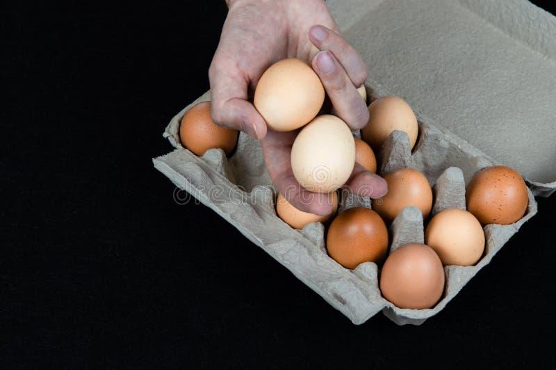 Uomo che tiene due uova in sua mano, presa da una scatola delle uova del cartone sul fondo nero della stuoia fotografia stock