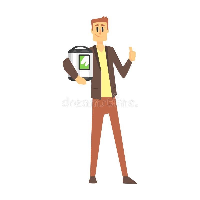 Uomo che tiene il fornello di riso lento, acquisto del grande magazzino per l'attrezzatura domestica e gli oggetti elettronici pe illustrazione di stock