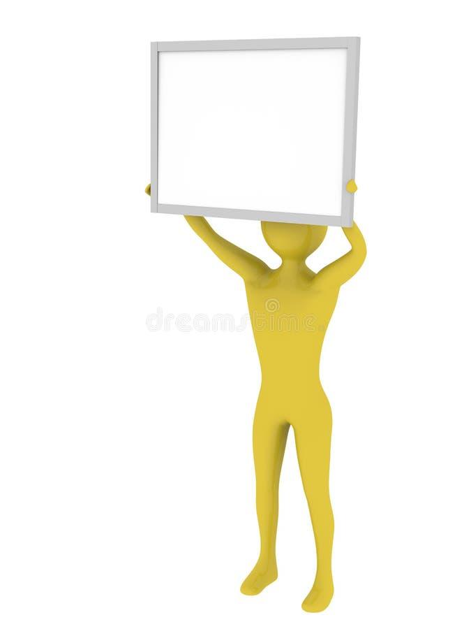 Uomo che tiene la scheda vuota di presentazione illustrazione vettoriale