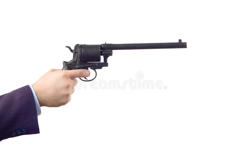 Uomo che tiene una pistola (percorso di residuo della potatura meccanica incluso) immagini stock libere da diritti