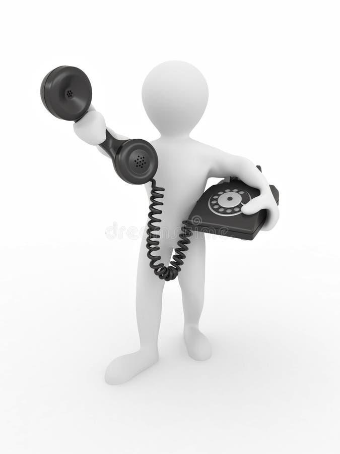 Uomo che tiene una ricevente di telefono illustrazione di stock