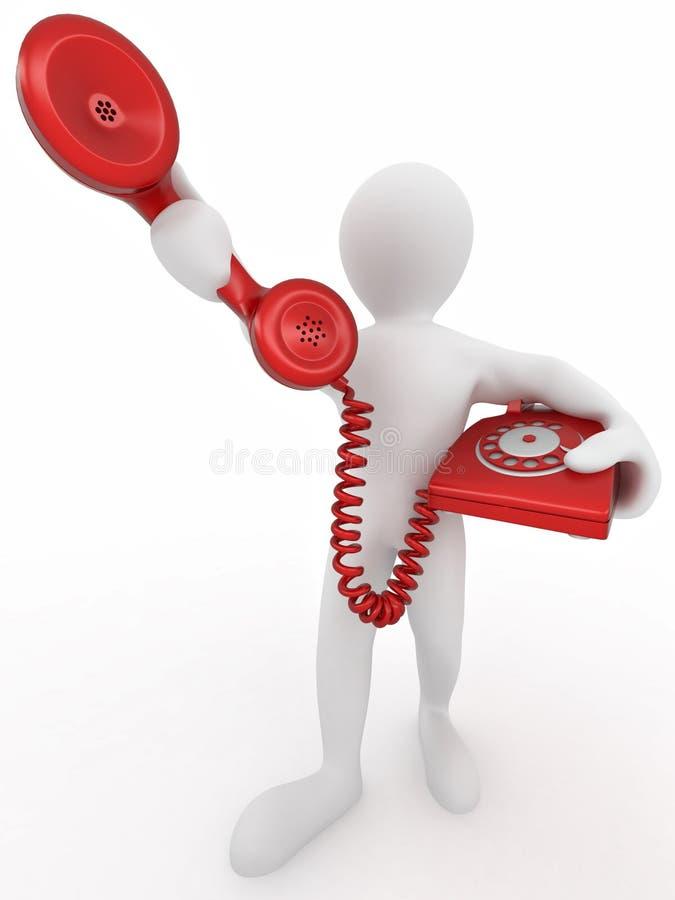Uomo che tiene una ricevente di telefono illustrazione vettoriale