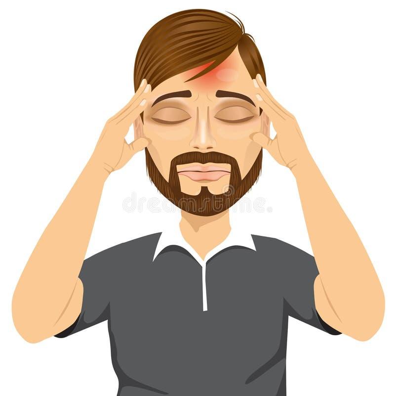 Uomo che tocca le sue tempie che soffrono un'emicrania illustrazione di stock