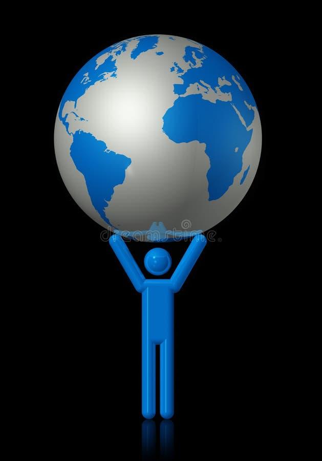 Uomo che trasporta un globo del mondo illustrazione vettoriale