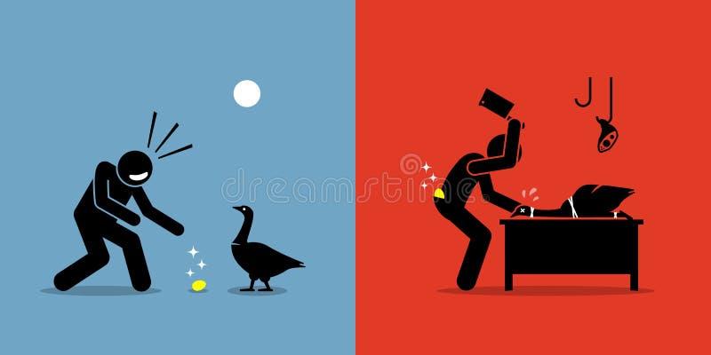 Uomo che uccide una gallina dalle uova d'oro con un uovo dell'oro illustrazione di stock