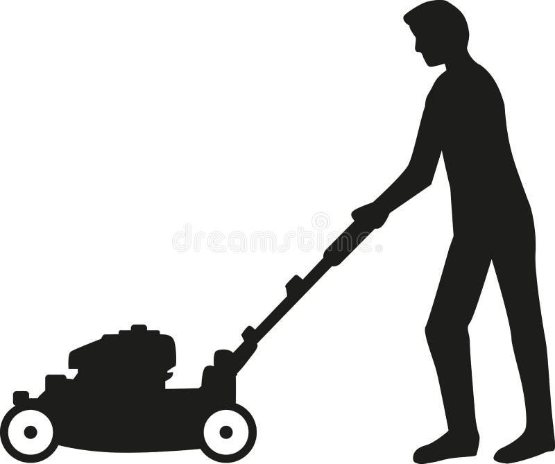 Uomo che usando la siluetta della falciatrice da giardino illustrazione di stock