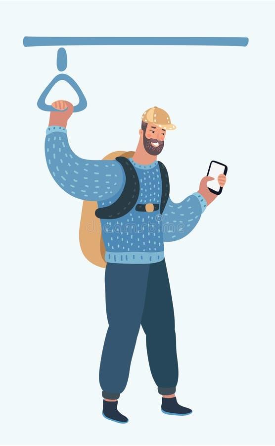 Uomo che utilizza smartphone nel trasporto pubblico illustrazione vettoriale
