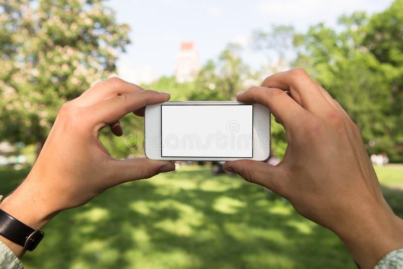 Uomo che utilizza telefono cellulare nel parco come macchina fotografica immagini stock libere da diritti
