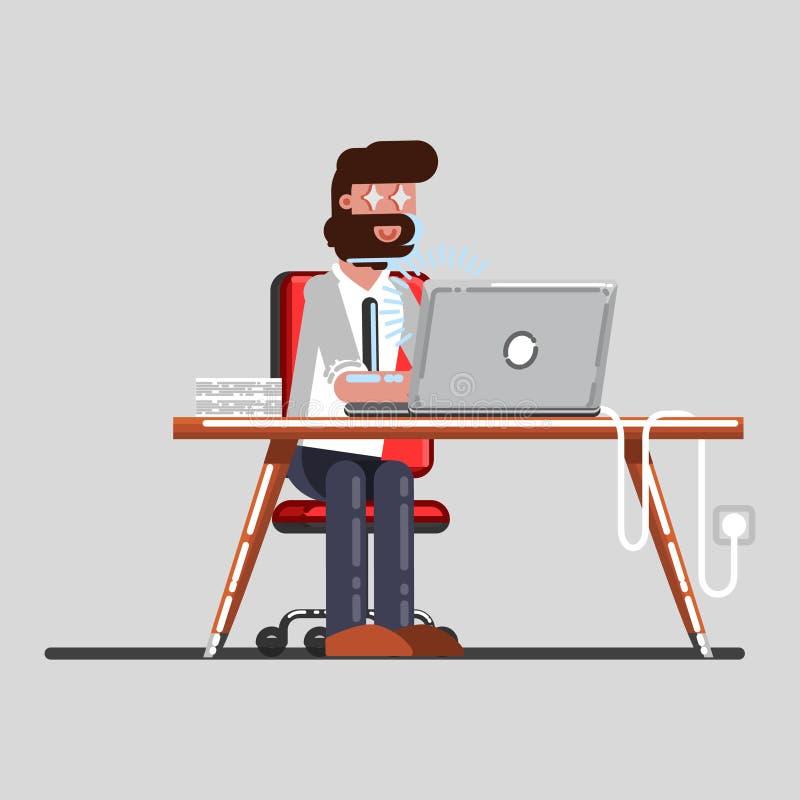 Uomo che vede qualcosa exsiting in suo computer portatile royalty illustrazione gratis