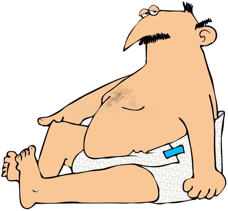 Uomo Chubby in pannolini illustrazione vettoriale
