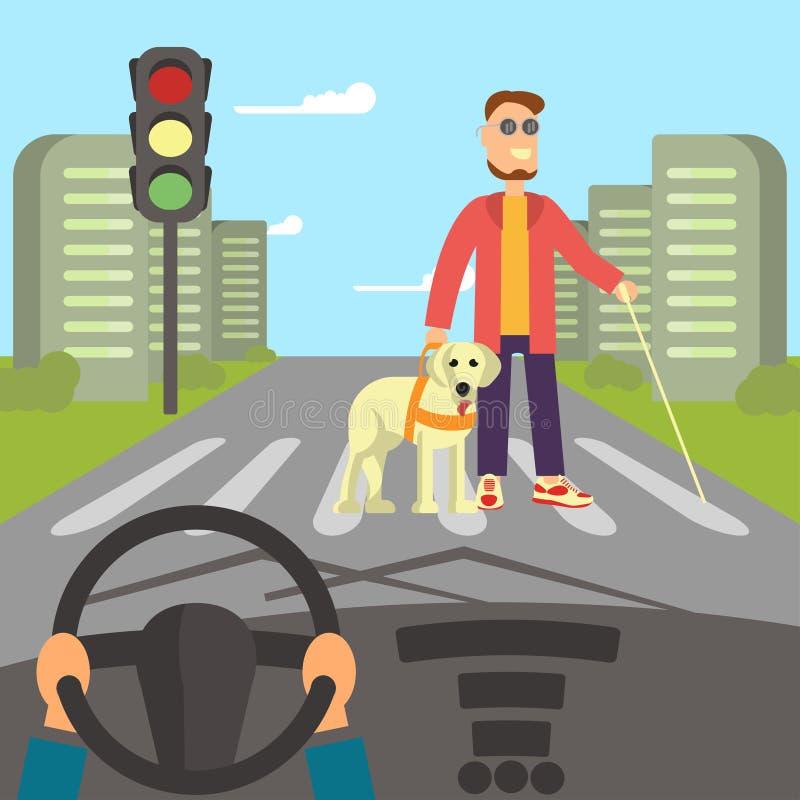 Uomo cieco con il cane di guida royalty illustrazione gratis