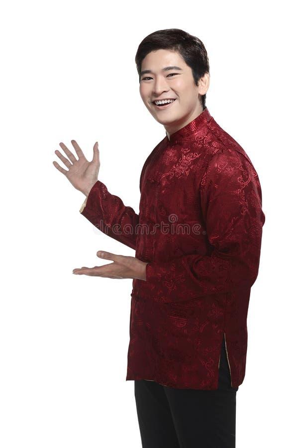 Uomo cinese nel vestito del cheongsam immagine stock libera da diritti