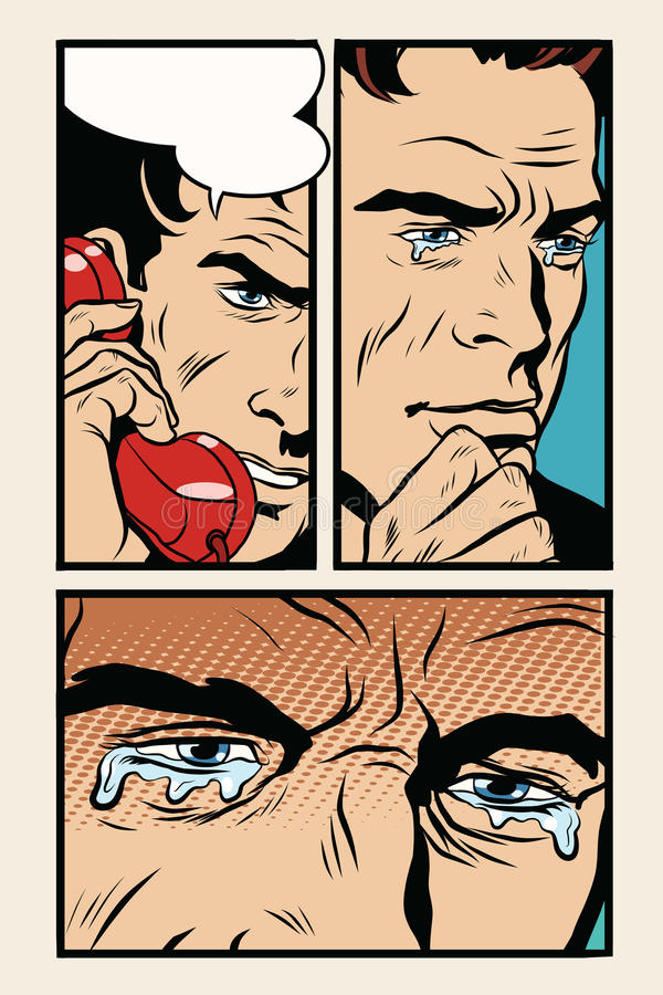 Uomo comico dello storyboard sul telefono e sui grida illustrazione vettoriale