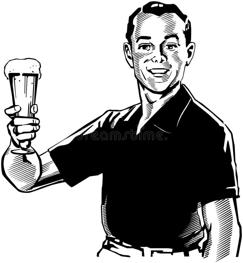 Uomo con birra illustrazione vettoriale
