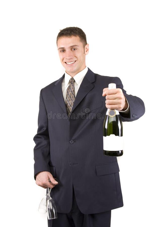 Uomo con Champagne immagini stock libere da diritti