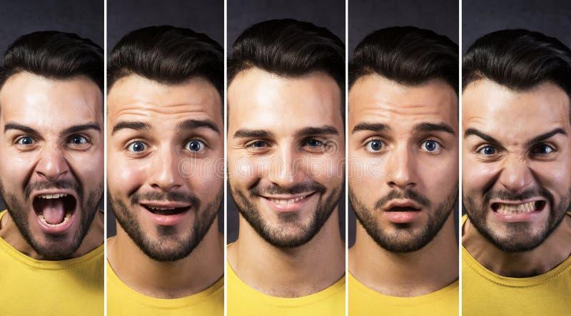 Uomo con differenti espressioni facciali immagine stock libera da diritti