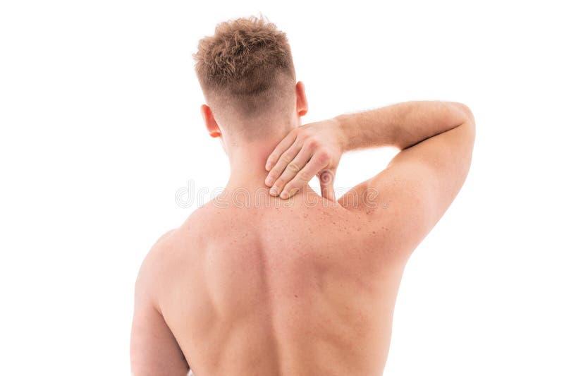 Uomo con dolore al collo immagine stock libera da diritti