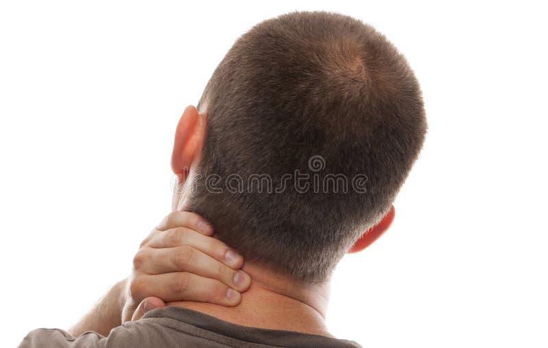 Uomo con dolore al collo fotografia stock libera da diritti