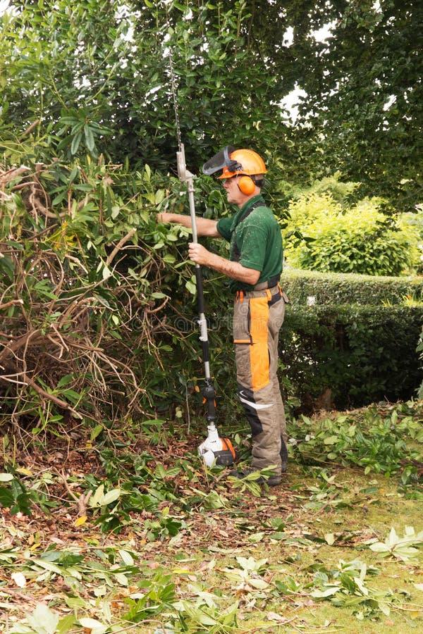 Uomo con hedgecutter a manico lungo fotografia stock