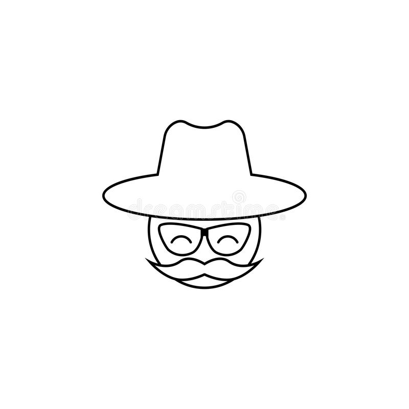 Uomo con i baffi e un cappello illustrazione vettoriale