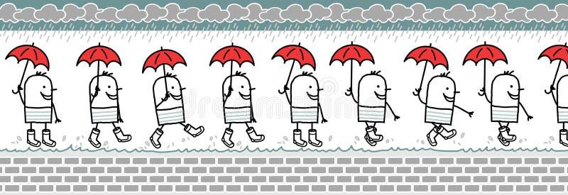 Uomo con i caricamenti del sistema di pioggia & dell'ombrello royalty illustrazione gratis