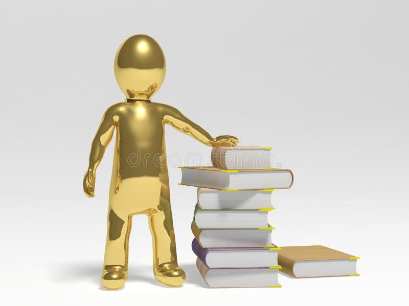Uomo con i libri illustrazione vettoriale
