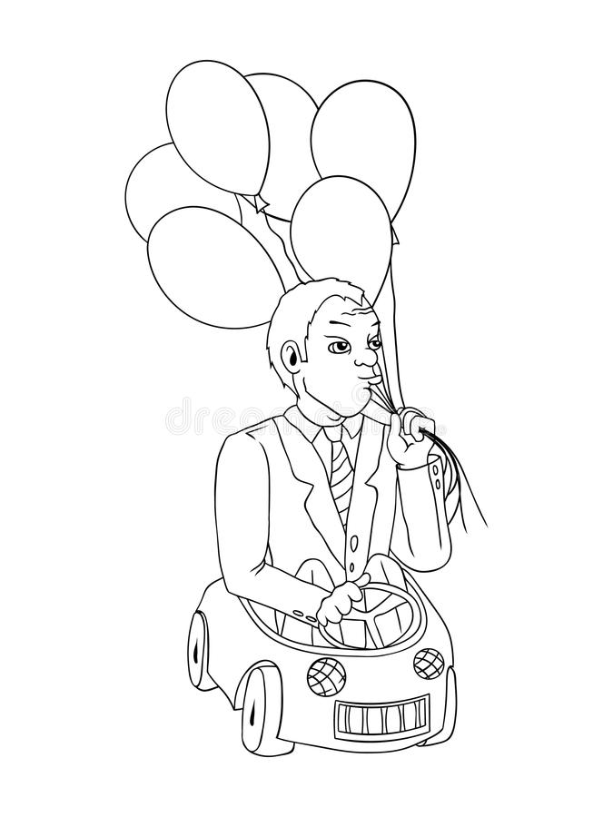 Uomo con i palloni nell'automobile del giocattolo, concetto del fumetto royalty illustrazione gratis