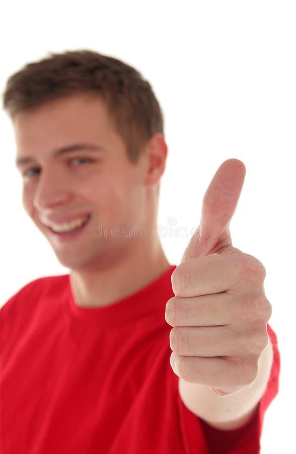Uomo con i pollici in su immagini stock libere da diritti