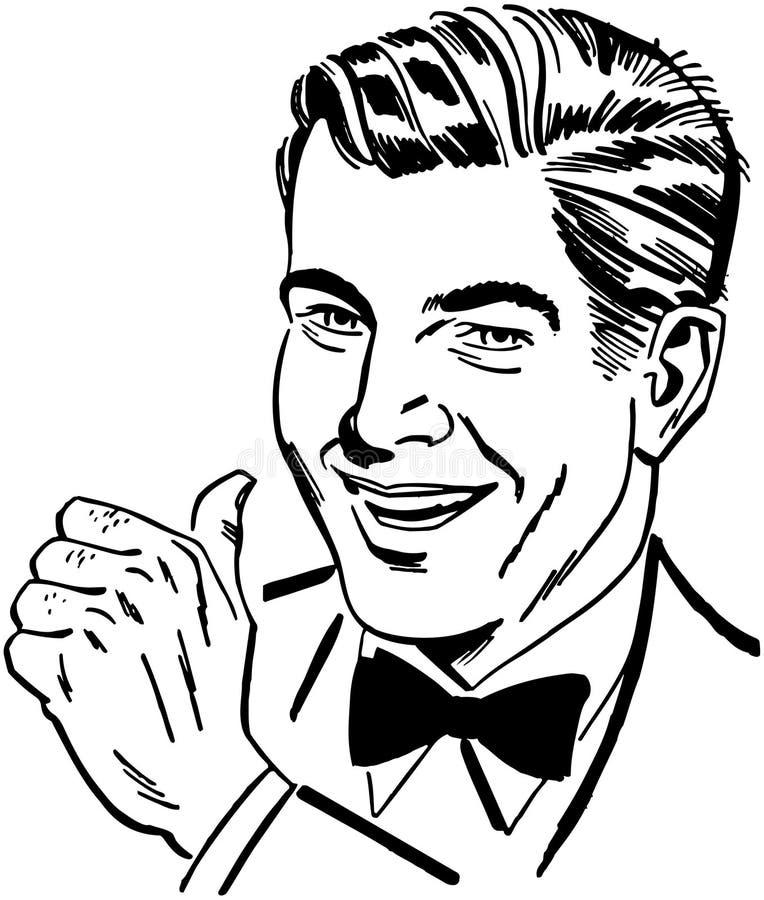 Uomo con i pollici in su illustrazione vettoriale