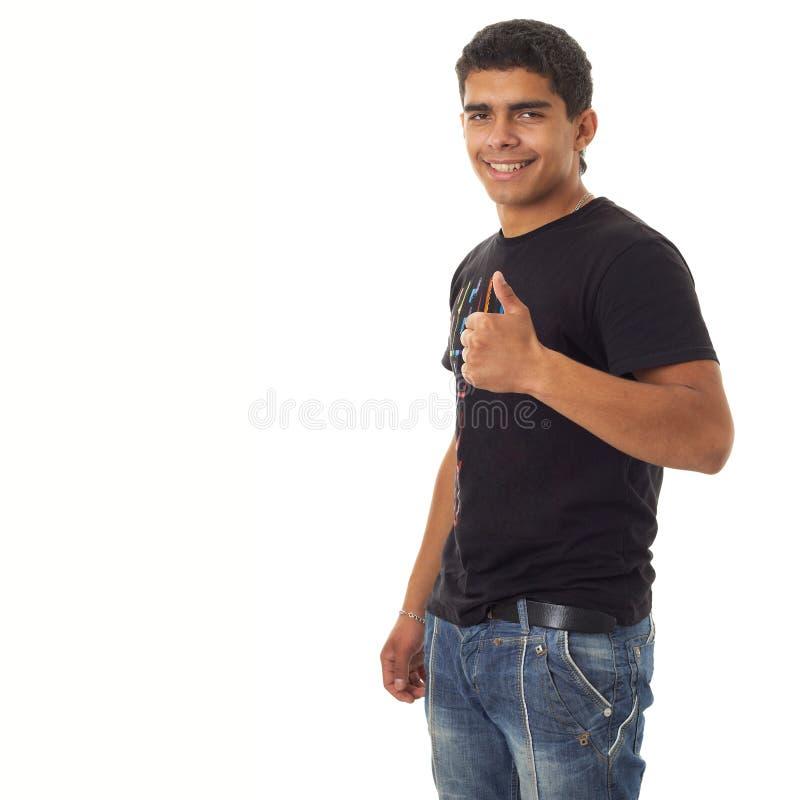 Uomo con i pollici in su fotografie stock