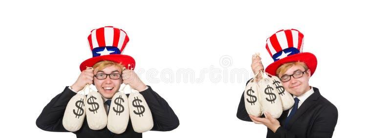 Uomo con i sacchi del dollaro su bianco immagine stock libera da diritti