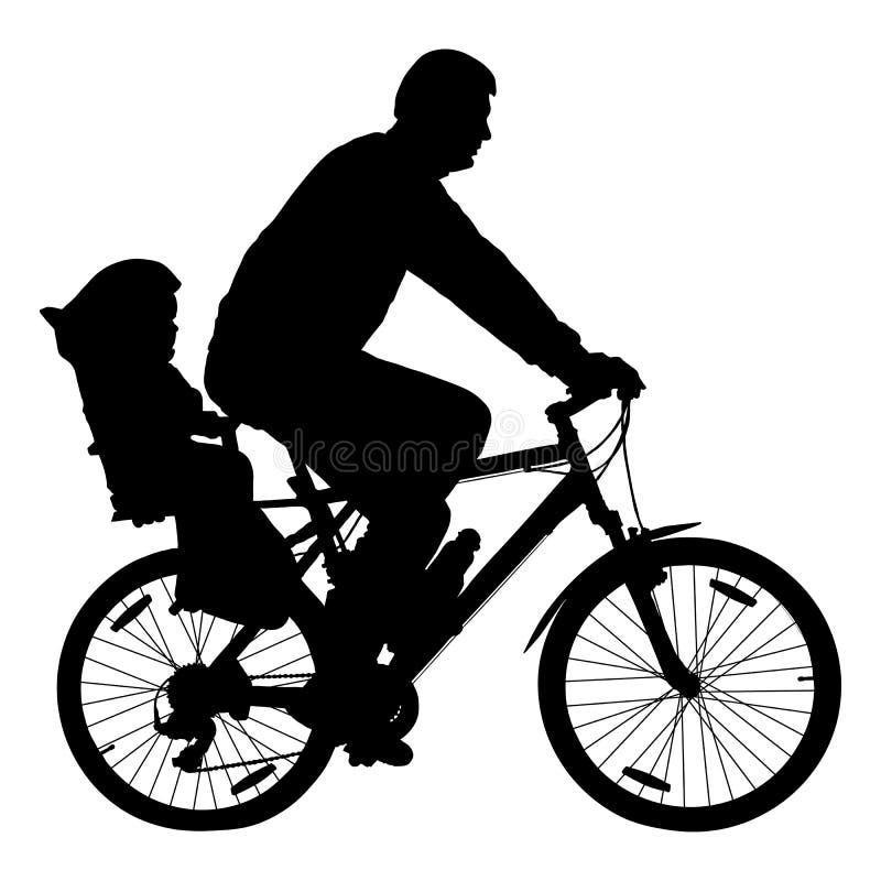 Uomo con il bambino sulla bicicletta, vettore della siluetta del ciclista illustrazione vettoriale