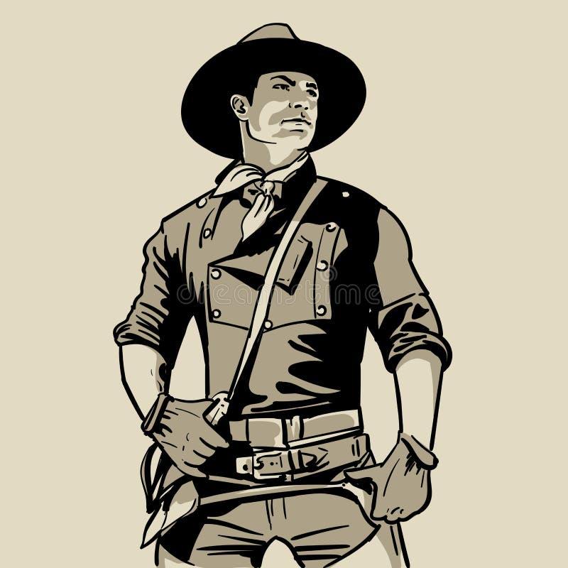 Uomo con il cappello da cowboy e camicia e sciarpa occidentale Ritratto Disegno della mano di schizzo di Digital Illustrazione royalty illustrazione gratis