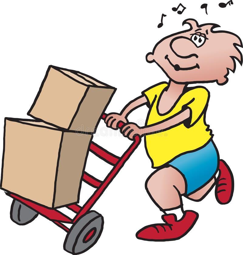 Uomo con il carrello illustrazione di stock