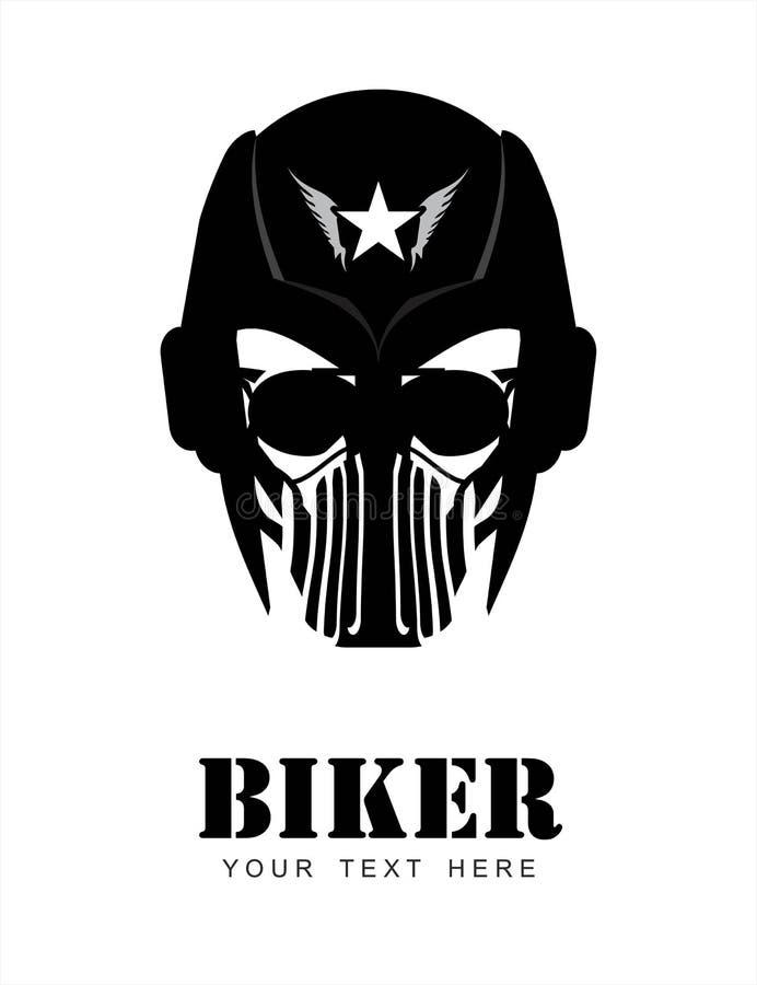Uomo con il casco, masker & occhiali da sole, corridore biker rider Pi illustrazione vettoriale