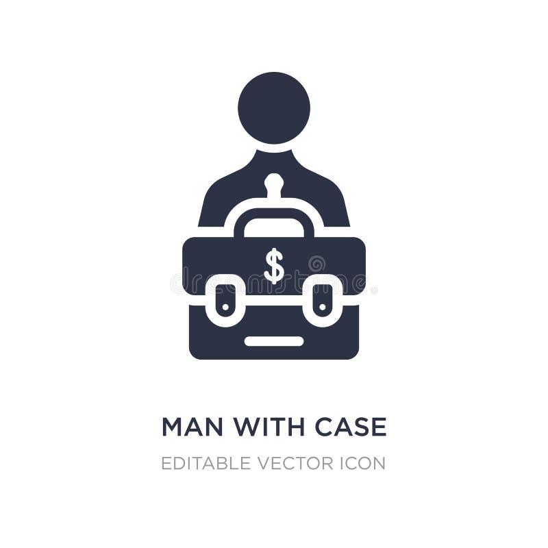 uomo con il caso con l'icona del dollaro su fondo bianco Illustrazione semplice dell'elemento dal concetto di affari illustrazione di stock