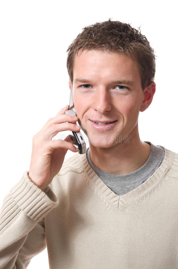 Uomo con il cellulare immagine stock