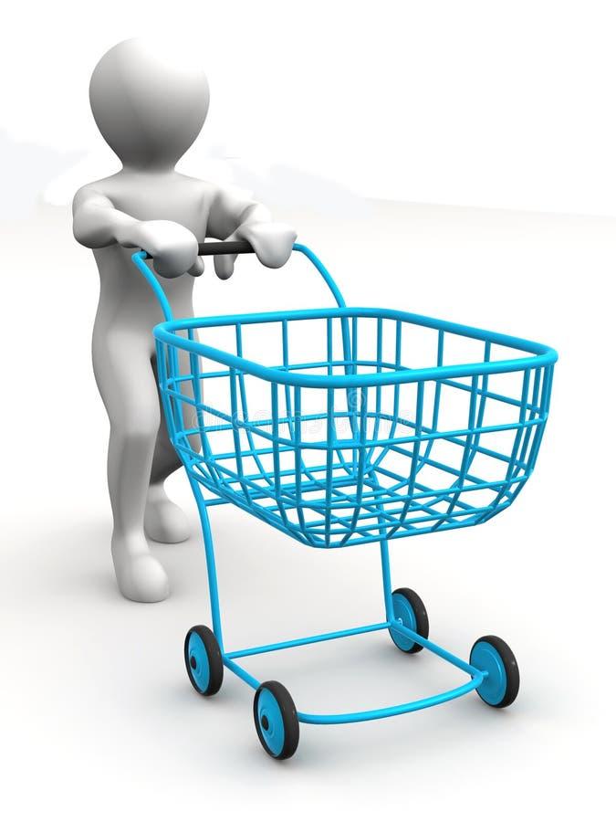 Uomo con il cestino del consumatore royalty illustrazione gratis