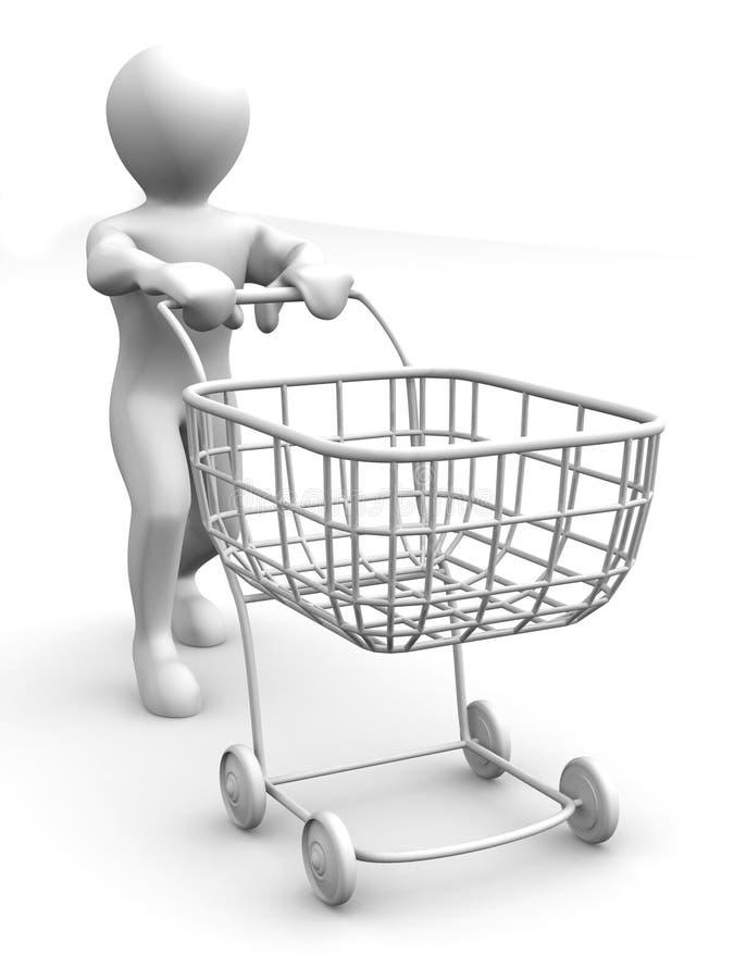 Uomo con il cestino del consumatore illustrazione di stock