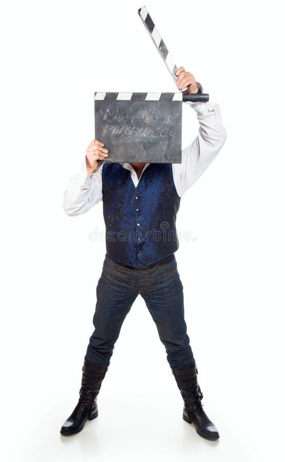 Uomo Con Il Clapperboard Fotografia Stock