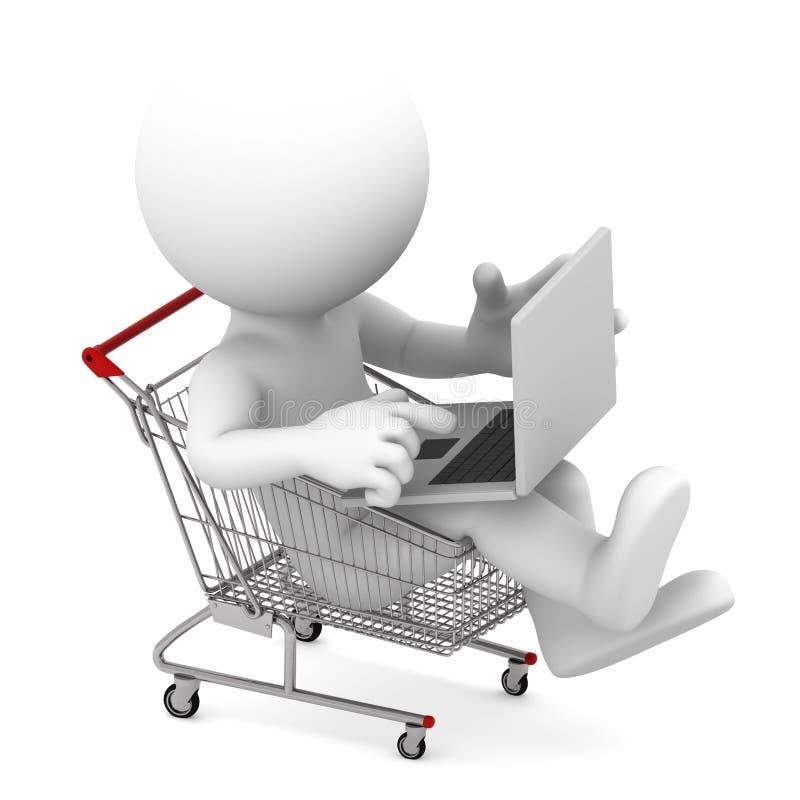 Uomo con il computer portatile all'interno del carrello di acquisto. illustrazione di stock