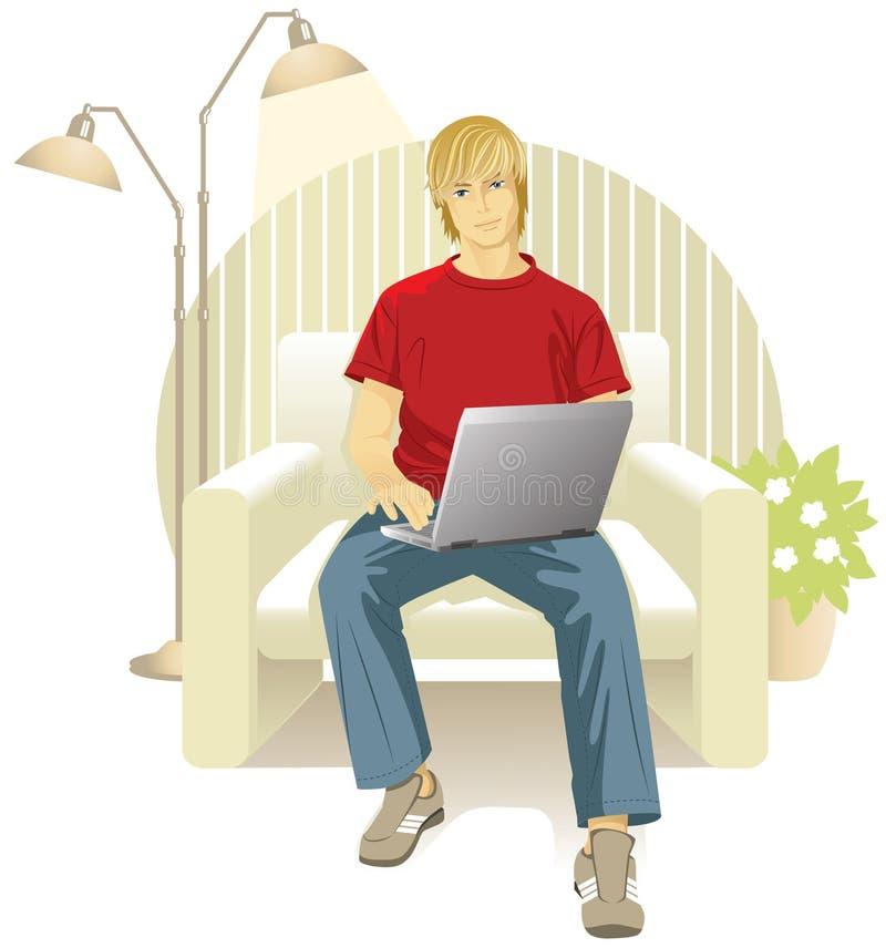Uomo con il computer portatile in presidenza illustrazione vettoriale